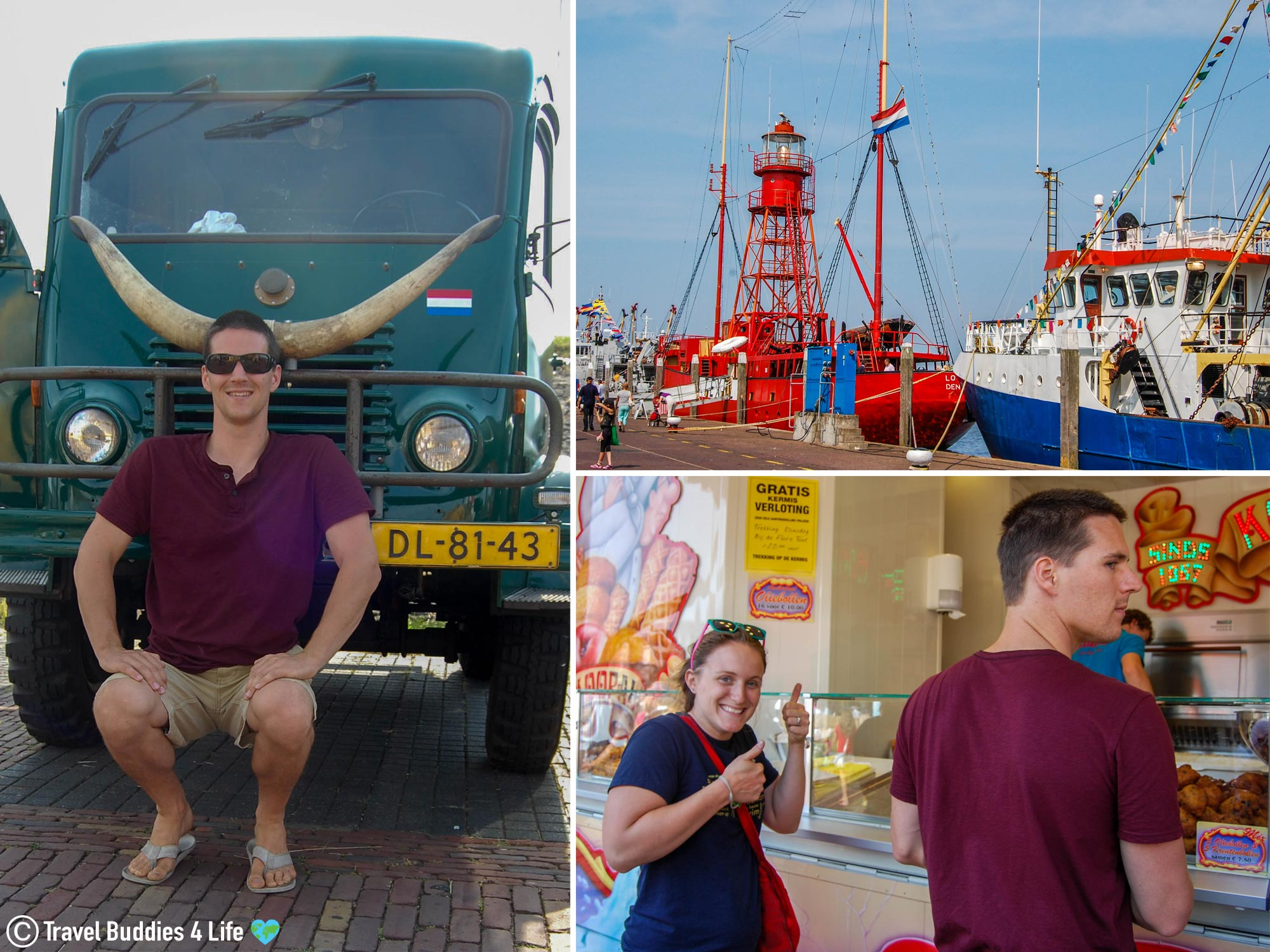 Joey And Ali At A Carnival In The Netherlands Getting Their Oil Balls, Dutch Treats