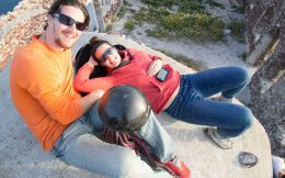 Joey And Nadine Waiting For The Sunset On Santorini Island, Greece