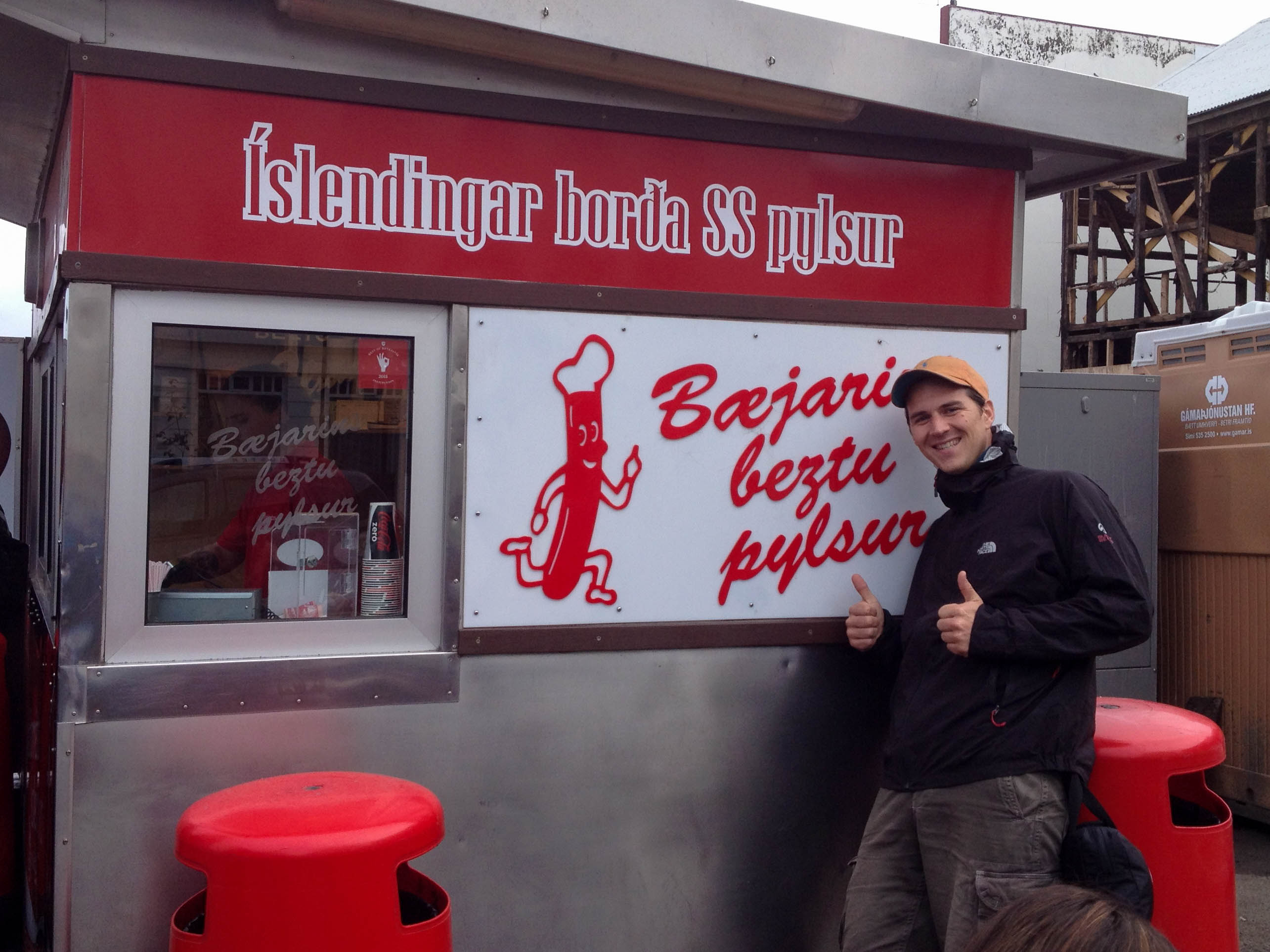 Joey at the Best Hot Dog Stand in Iceland