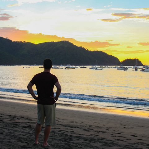 Joey Gazing out at the Beach Sunset in Costa Rica