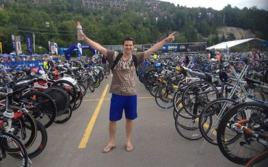 Joey In The Sea Of Bikes At Ironman Mont Tremblant