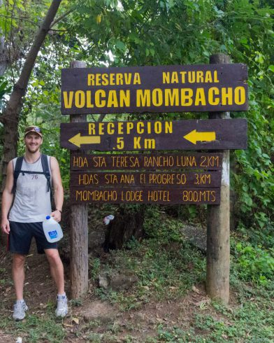 Joey with Mombacho Park Sign