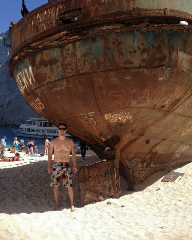 Joey With The Rusted Ship On Navigo Beach, Zakynthos