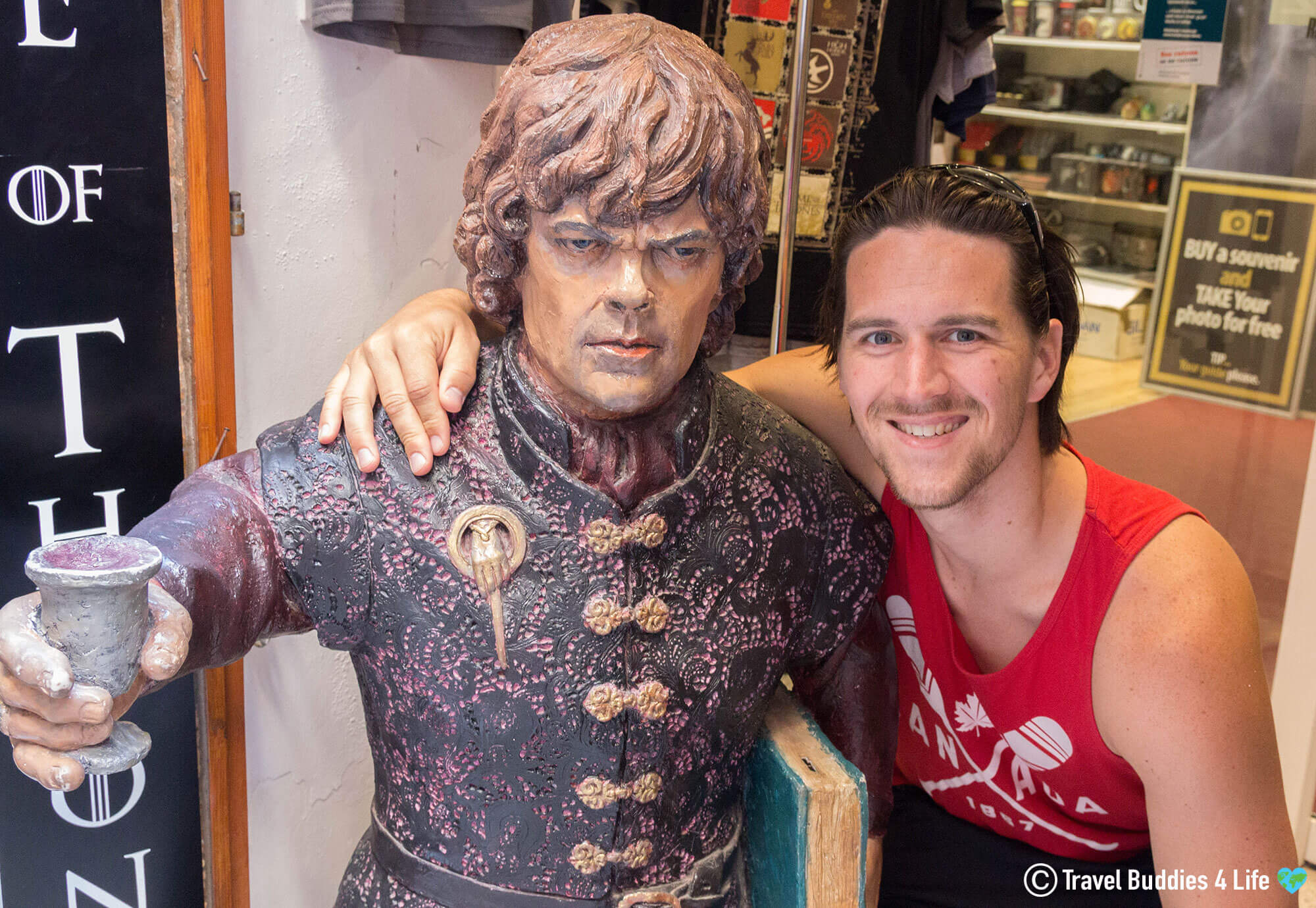 Joey with Tyrean Lannister Statue in Croatia