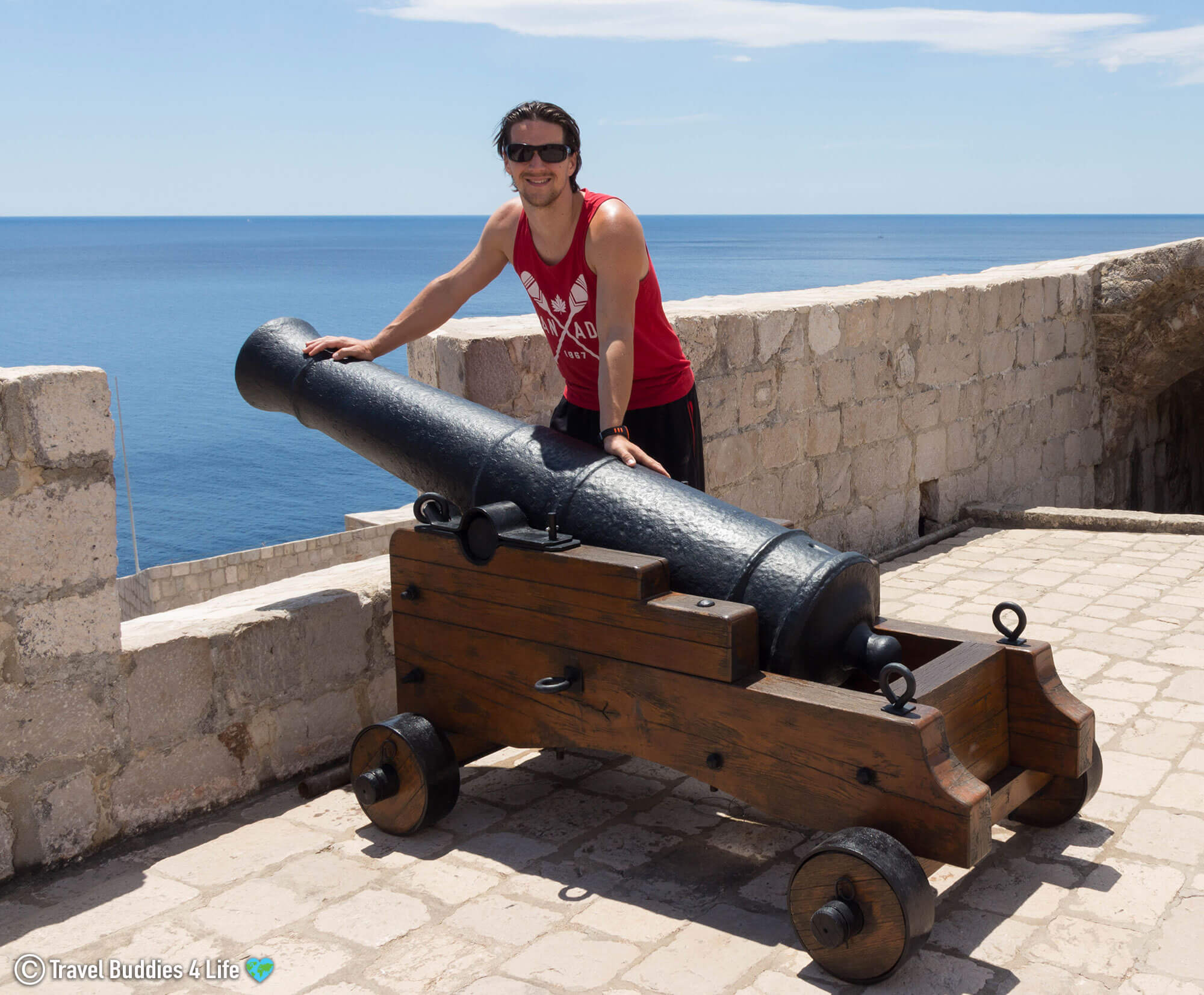 Joey with a Canon in Dubrovnik's Fortress by the Sea