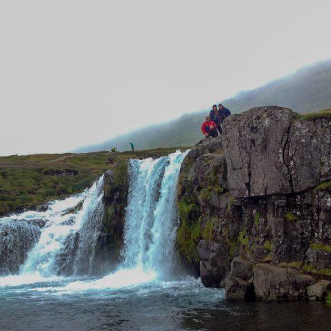 Mom, Dad and Ali at Iceland's Kerkjufellfoss Waterfall