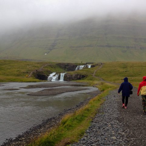 Mom and Dad Walking at the Kerkjufellfoss