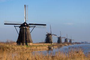 Kinderdijk Windmills Along The Creek