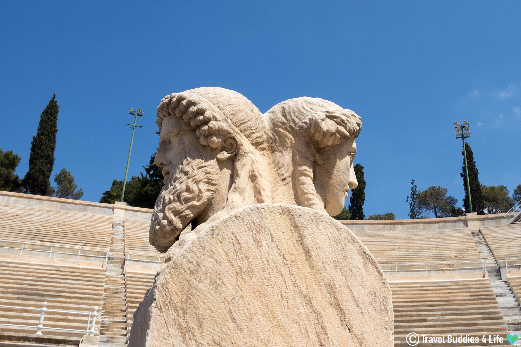 Man And Boy Bust Statue At The Panathenaic Stadium In Athens, Greece, Europe