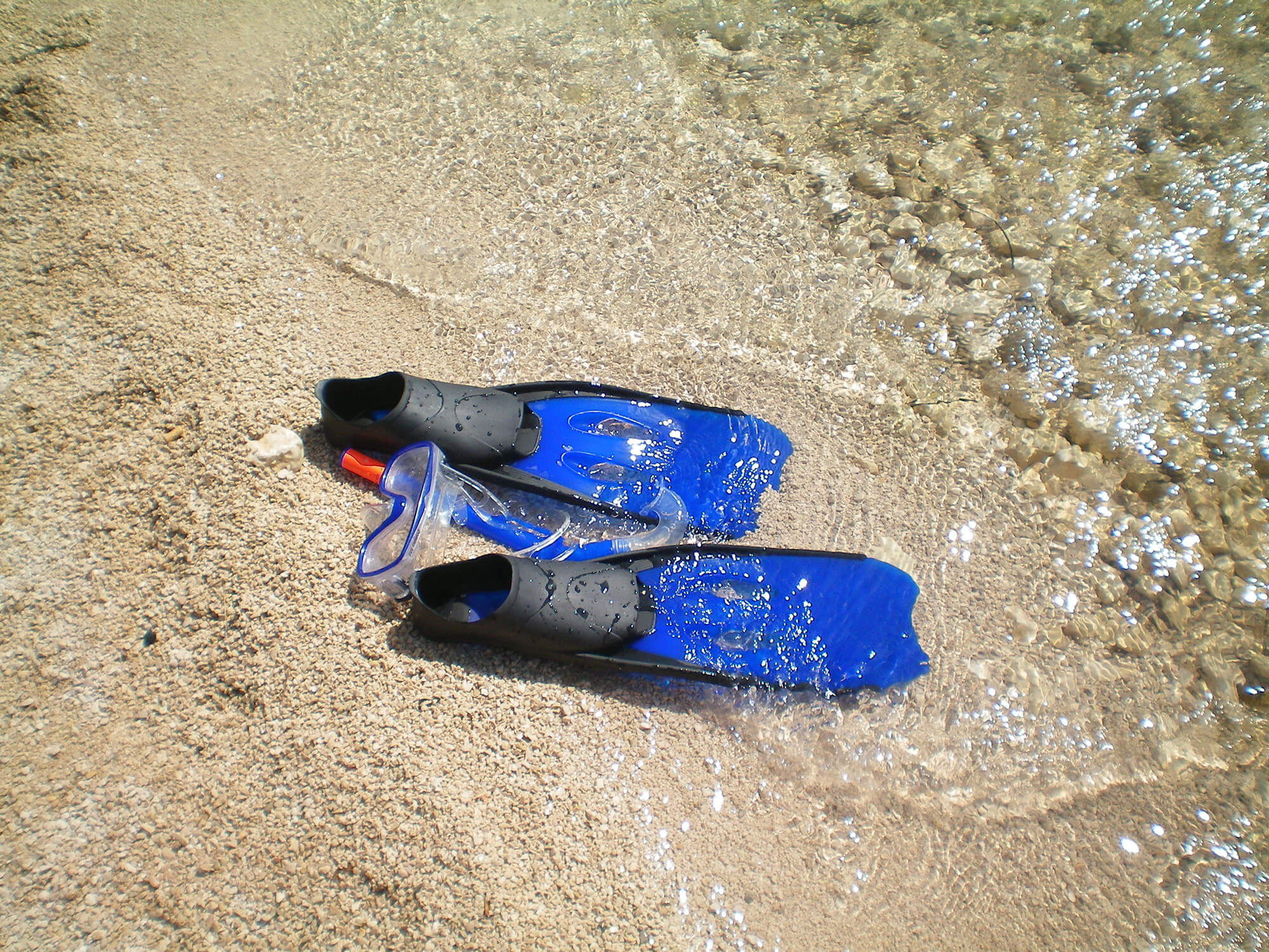Scuba Diving Mask and Fins at the Waters Edge