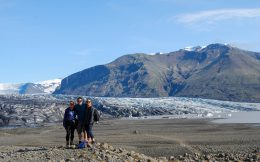 Mom, Joey and Ali with a Glacier in Iceland