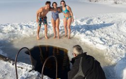 Nadine, Ali and Joey Posing by the Ice Hole