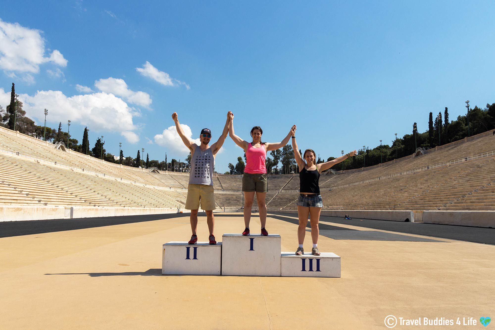 Nadine, Joey And Ali On The Podium Of The Panathenaic Stadium In Athens, Traveling Greece, Europe