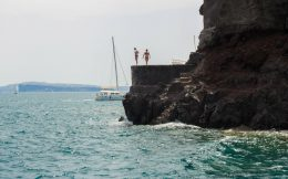 Nadine And Ali On The Jumping Rock Of Amoudi Bay