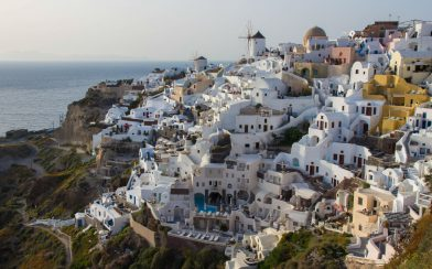 Oia Town On The Side Of The Island Cliff