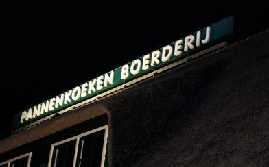 Pancake Restaurant Sign At Night