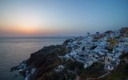 Pink And Orange Sunset Over Santorini