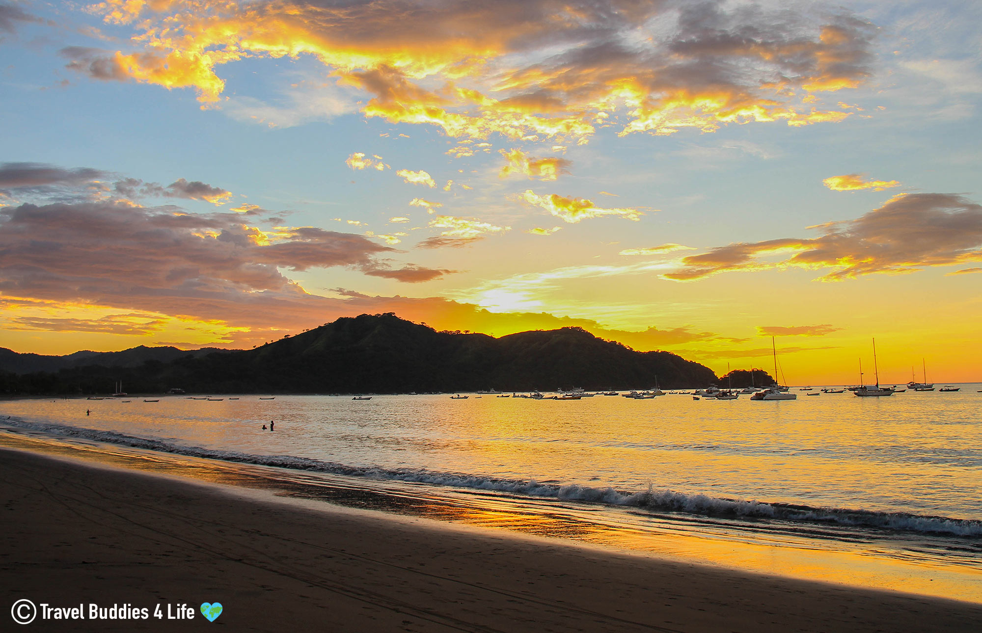 Playas Del Coco Sandy Beach At Sunset With Fishing And Sail Boats, Costa Rica Travels, Central America