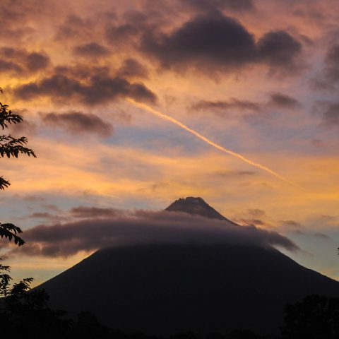 An Adventurous Sunset Picture of the Arenal Volcano