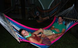 Relaxing Outside on the Hostel Hammocks in La Fortuna