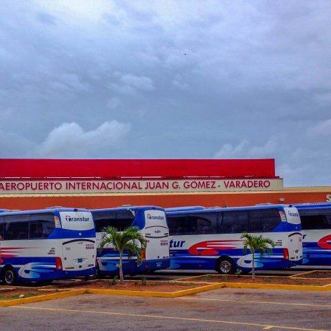 Cuban Resort Buses at the Airport