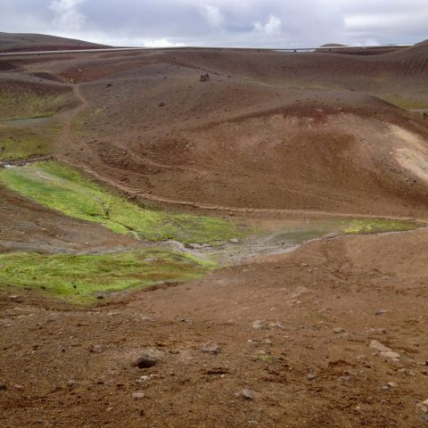 Sand and Green Slime on an Iceland Hiking Trail