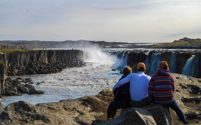 Ali, Joey and Moms Looking at the Selfoss Waterfall