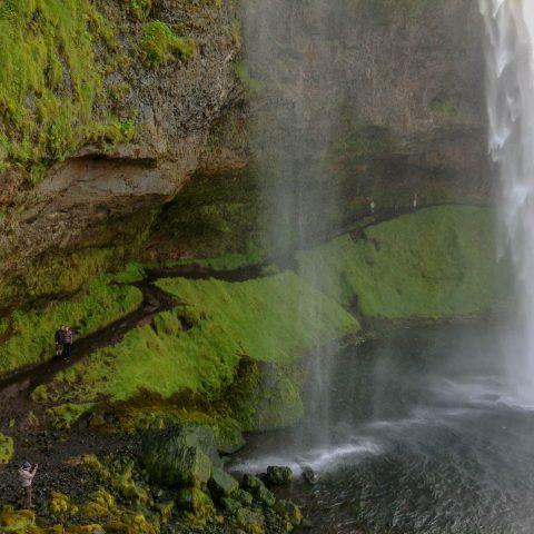 Looking Back into the Seljalandsfoss Waterfall Cave