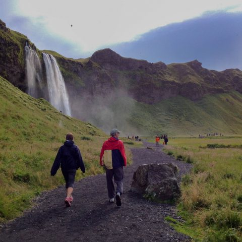 Seljalandsfoss Waterfall and Mom and Dad Walking