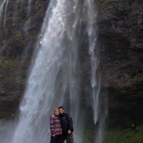 Seljalandsfoss with Joey and Ali at the Base
