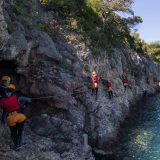 Several Coasteering People Along the Coast with WIND in Portugal