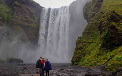 Skogafoss Waterfall with Mom, Dad and Joey