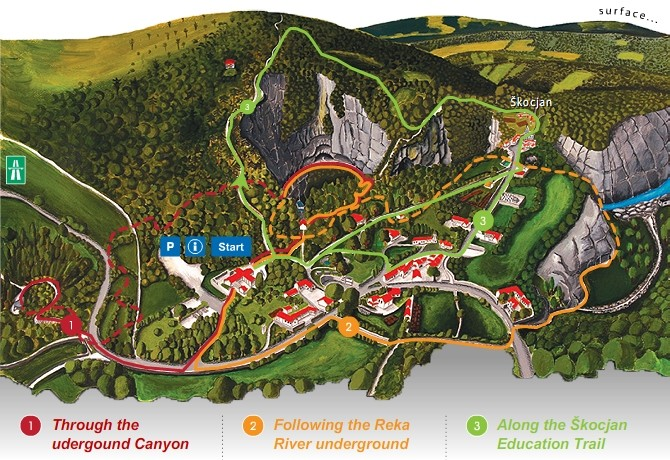 Slovenia Cave Guided Tour Map of the Area, Europe