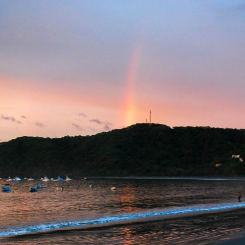 A Pink Costa Rican Sunset Topped off with a Rainbow