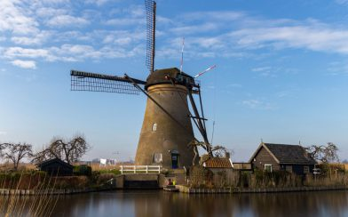 The Back Of A Holland Windmill At Kinderdijk