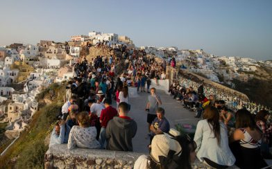 The Crowd Gathering In Oia For The Sunset