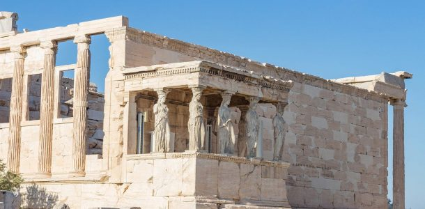 The Muse Statues On The Temple Of Athena In The Acropolis Of Athens, Greece, Europe