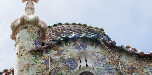 The Peak of One of Gaudi's Mansion Art Pieces in Barcelona, Spain, Europe