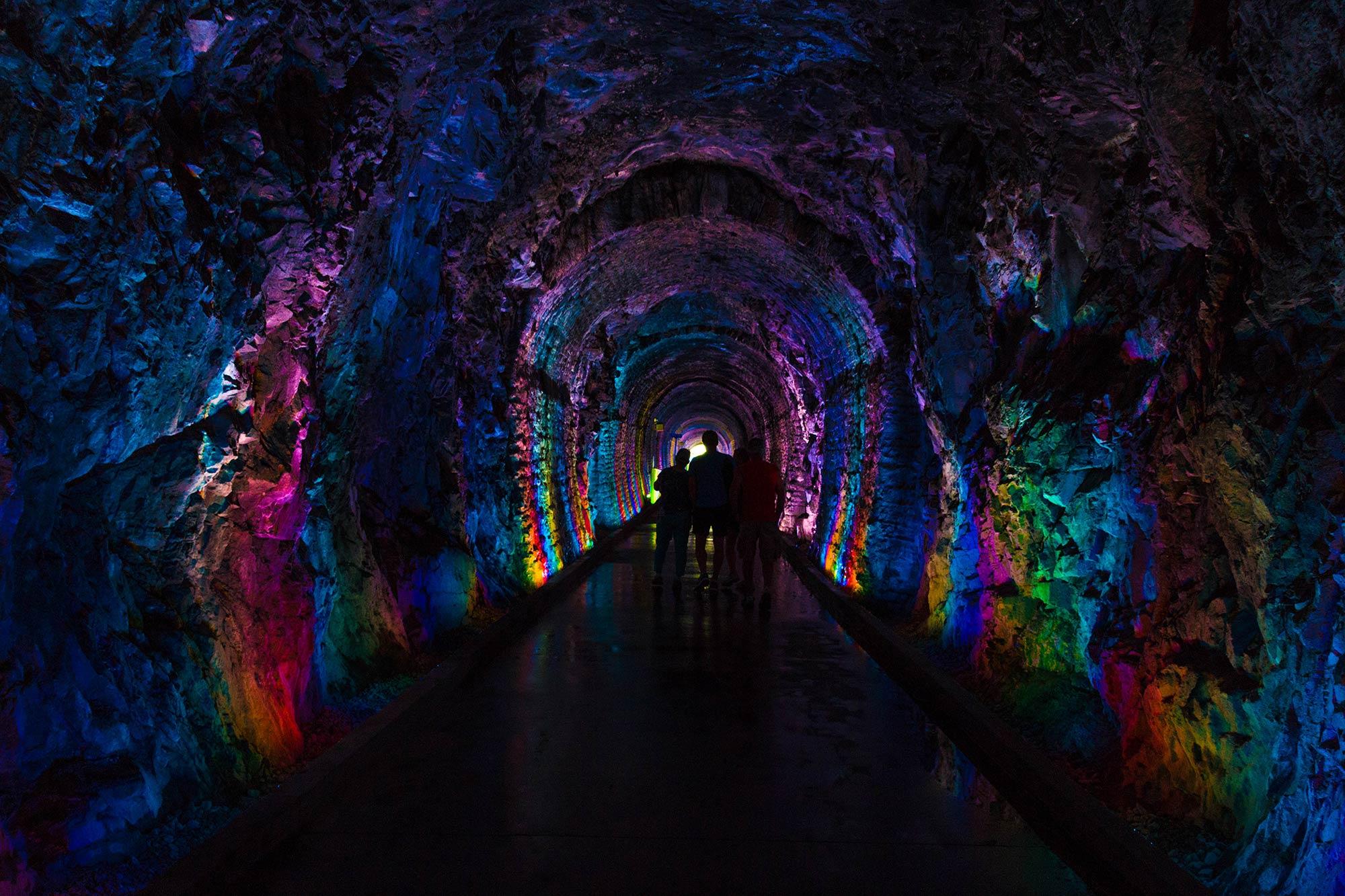 The Rainbow Multicoloured Railway Tunnel In Brockville, Ontario, Canada