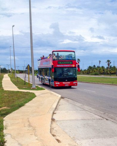 The Red Double Decker Resort Bus in Cuba
