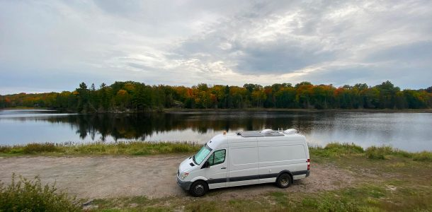 The Scuba Diving Converted Sprinter Van Parked By A Lake In Northern Ontario, Canada Road Tripping