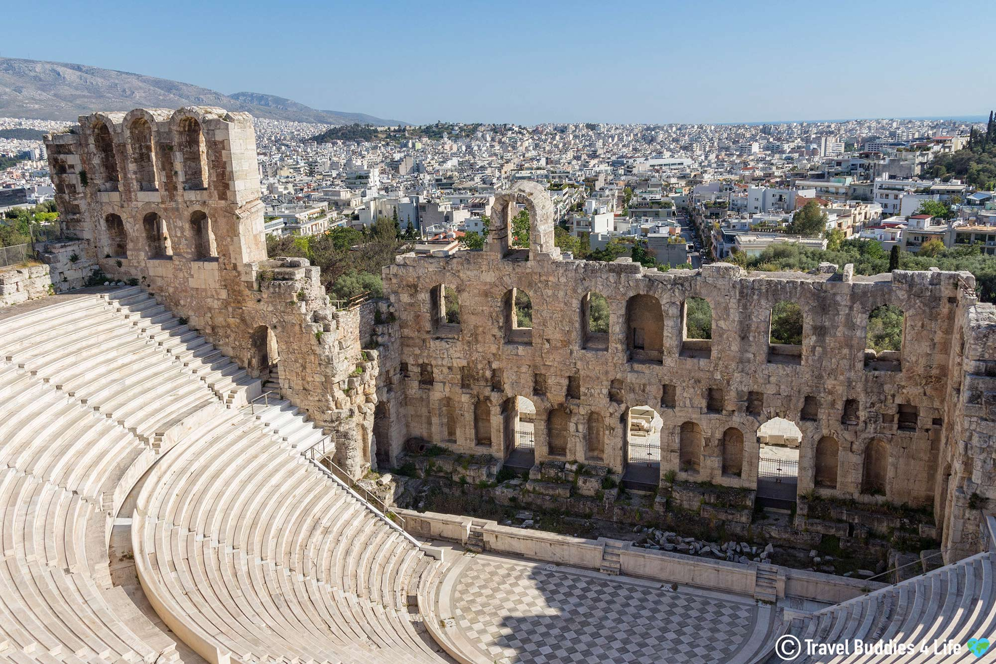 The Theatre Of Dionysus Overlooking The Beautiful Historic City Of Athens, Greece, Europe Travels
