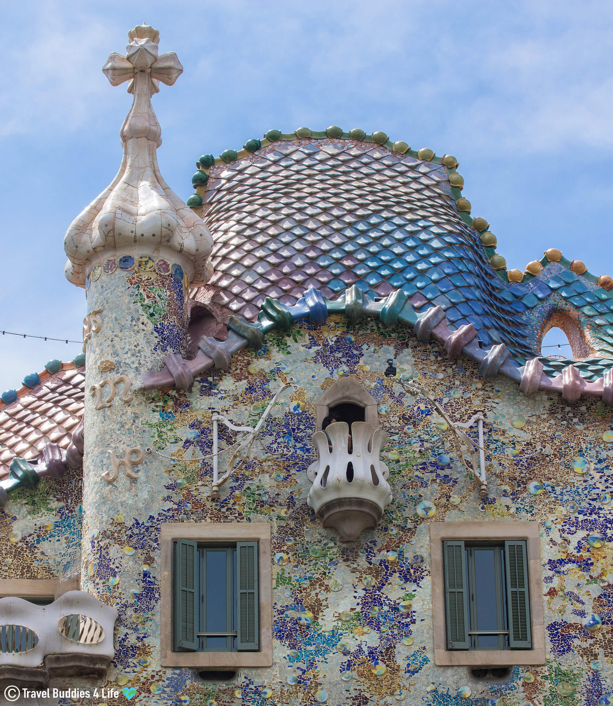 The Upper Part of Casa Batlló, one of Gaudi's Buildings in Barcelona, Spain, Europe