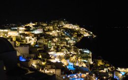 View Of The Town Of Fira At Night